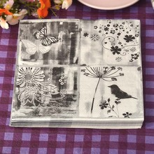 Min Order is $5,Food-grade Floral bird Paper Napkins Food Festive & Party Tissue Decoupage Decoration 33cm*33cm