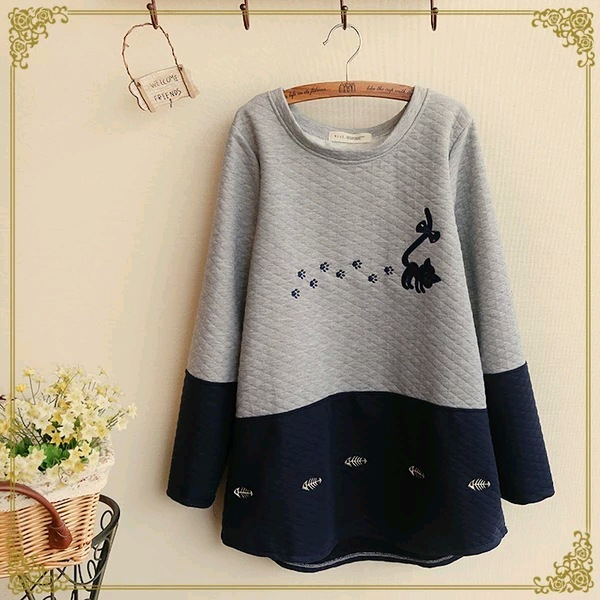 maternity clothes o-neck long sleeve patchwork dark blue gray cartoon printed casual tops pregnant hoodies christmas clothing