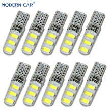 MODERN CAR 10xT10 Silicone Case 6SMD 5630 LED Car Parking Dome Light T10 W5W 194 168 5730 LED Wedge Lamp Parking Bulb Waterproof