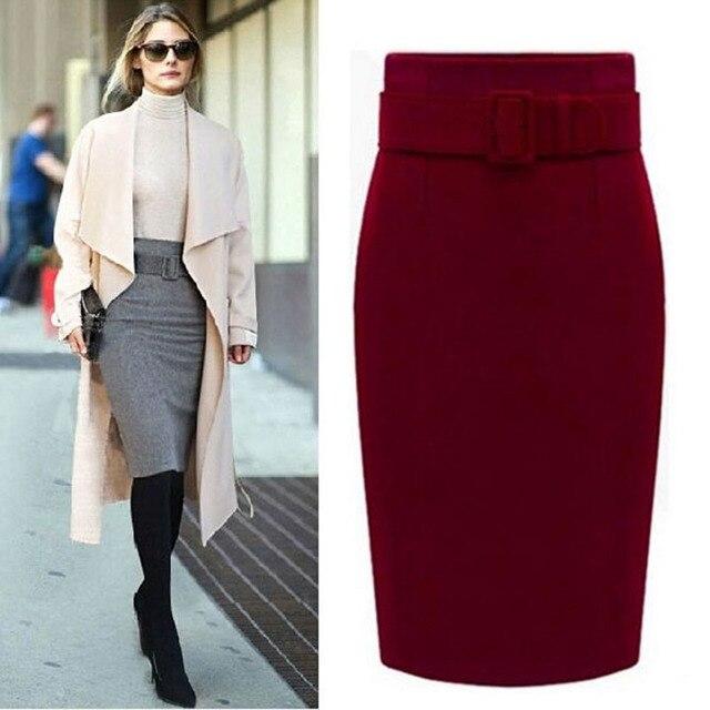 새로운 패션 가을 겨울 스타일 2020 코 튼 플러스 크기 높은 허리 Saias Femininas 캐주얼 미디 연필 스커트 여성 스커트 여성 드