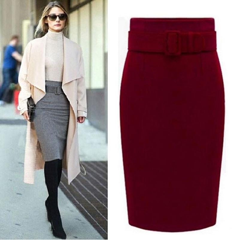 New Fashion Autumn Winter Style 2017 Cotton Plus Size High Waist Saias Femininas Casual Midi Pencil Skirt Women Skirts Female De-in Skirts from Women's Clothing
