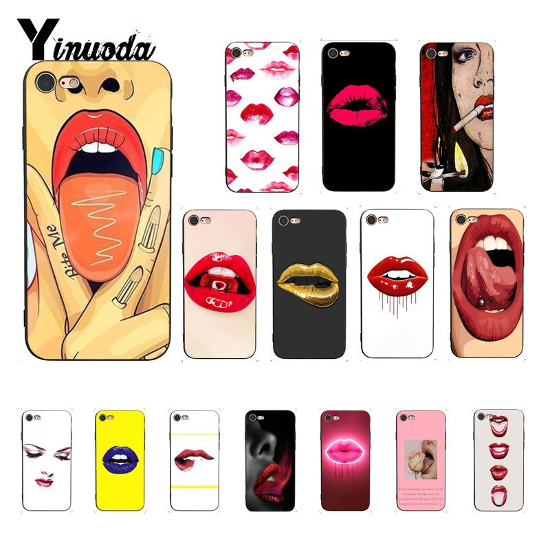 Yinuoda <font><b>Sexy</b></font> <font><b>Girl</b></font> red Lips Luxury Unique Design PhoneCase for <font><b>iPhone</b></font> 8 <font><b>7</b></font> 6 6S 6Plus X XS MAX 5 5S SE XR 10 <font><b>Cases</b></font> image