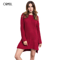 ORMELL Women Solid Knitted Mini Dress Autumn Long Sleeve Dresses O Neck Loose Clothing Winter Black