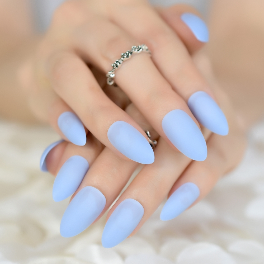 Fake Nails: Almond Fake Artificial Acrylic Nail Tips Light Sky Blue