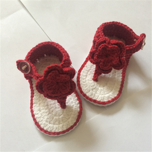 Qyflyxue Free Shipping Crochet Baby Shoes Baby Boy Flip Flops