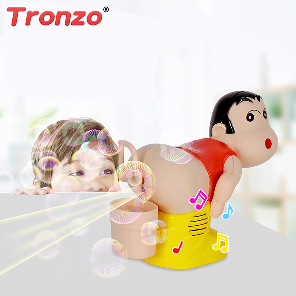 Tronzo Gag Toys Automatic Soap Bubble Blower Novelty Shin Chan Fart Blowing Bubbles Machine With Light Music Funny Joke Toys