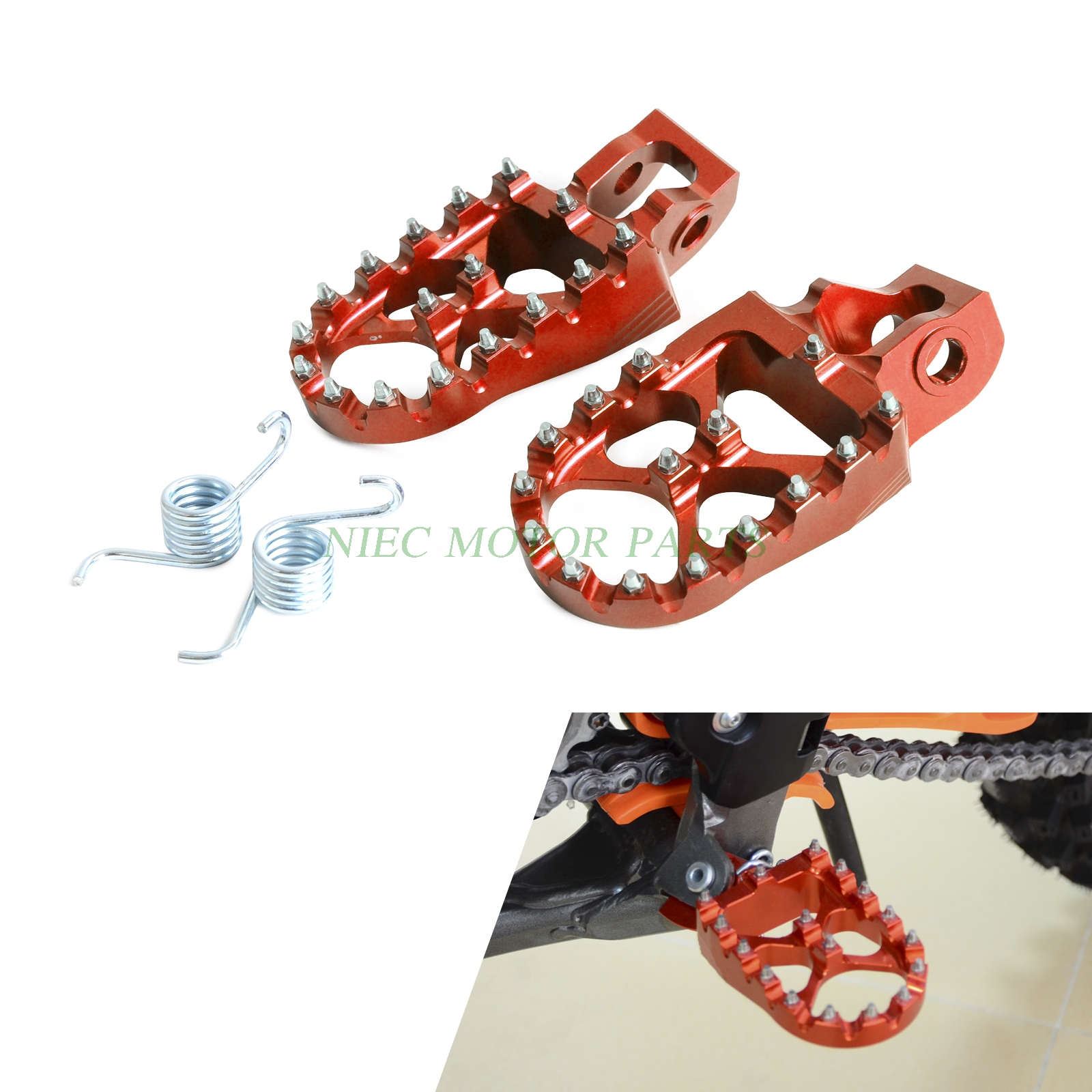 NICECNC Billet Wide CNC Foot Pegs Footrests For KTM 125 150 200 250 30 350 450 500 SX SXF EXC EXCF XC XCF XCW SMR EXCW 2017 for ktm exc sx sxf xc xcw xcf excf excw xcfw mx six days 65 85 125 200 250 300 350 400 450 525 billet mx foot pegs rests pedals