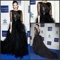 Regular Half Sleeves Star Dress Floor-Length Scoop Celebrity Party Dress 2016 Modern Black A-Line Tulle Celebrity Dress 2380