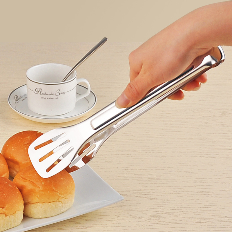 High quality 304 Stainless Steel Barbecue BBQ Tong Kitchen Food Bread Tongs Heat Resistance Food Grade Cooking Tool