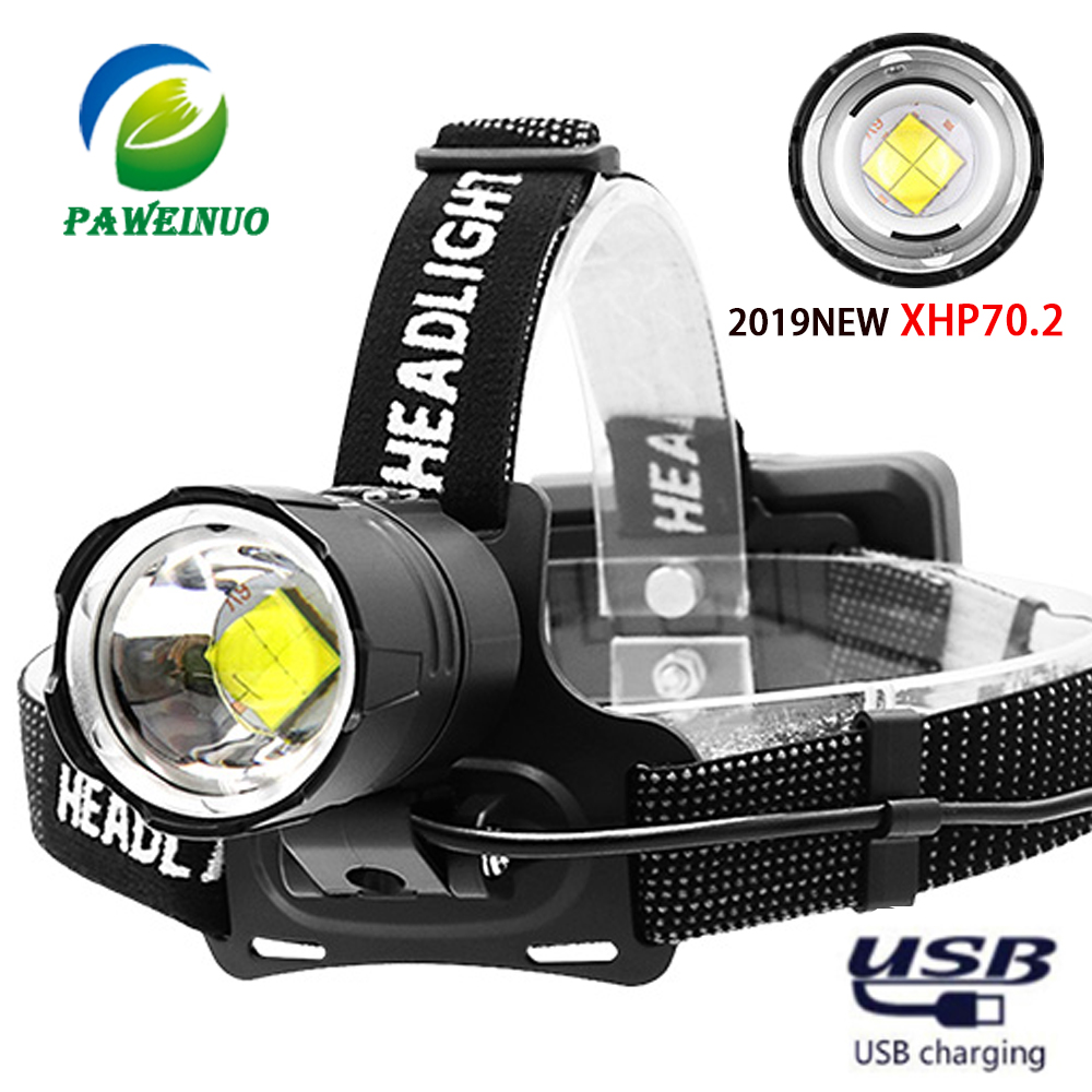 100000LM XHP50 Led headlamp Rechargeable USB Head Torch Headlight 18650 3 modes