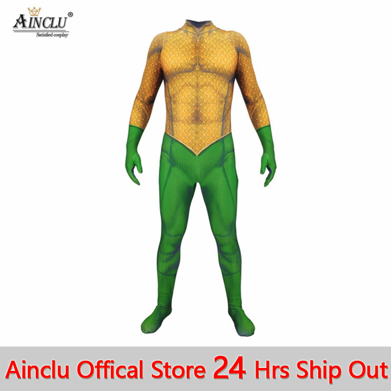 New Aquaman Jumpsuit Arthur Curry Cosplay Costume For Adult /& Kids Halloween Cos