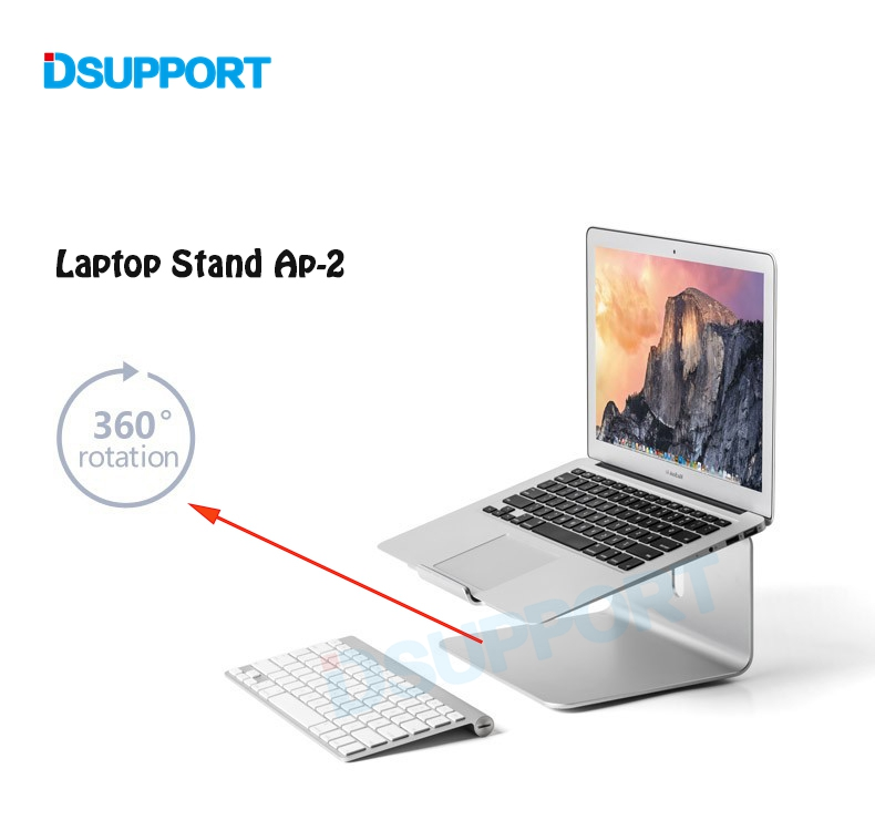 Dsupport AP-2 Aluminum 360 Degree Rotating Adjustable Laptop Stand Angle 15 degree for Home/Office11-17 inch Notebook sopi sn 002 aluminum desktop vertical stand for laptop tablets 11 15 inch laptops of width between 0 45mm
