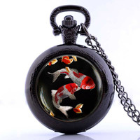 Vintage Classic Japanese Koi Fish Pocket Fob Watch Necklace Asian Art Best Friend Gift Jewelry