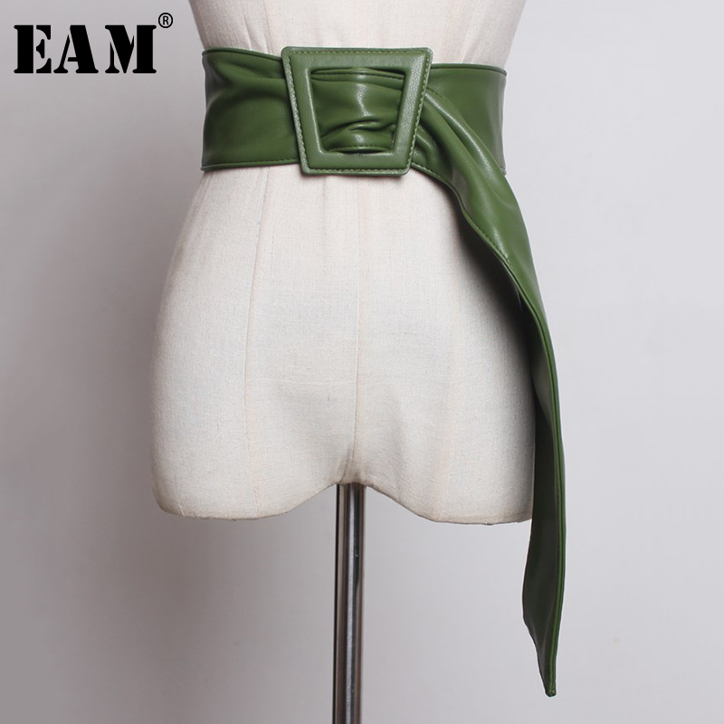 [EAM] 2020 New Spring Summer Pu Leather Green Black Big Buckle Personality Long Wide Belt Women Fashion Tide All-match JY325