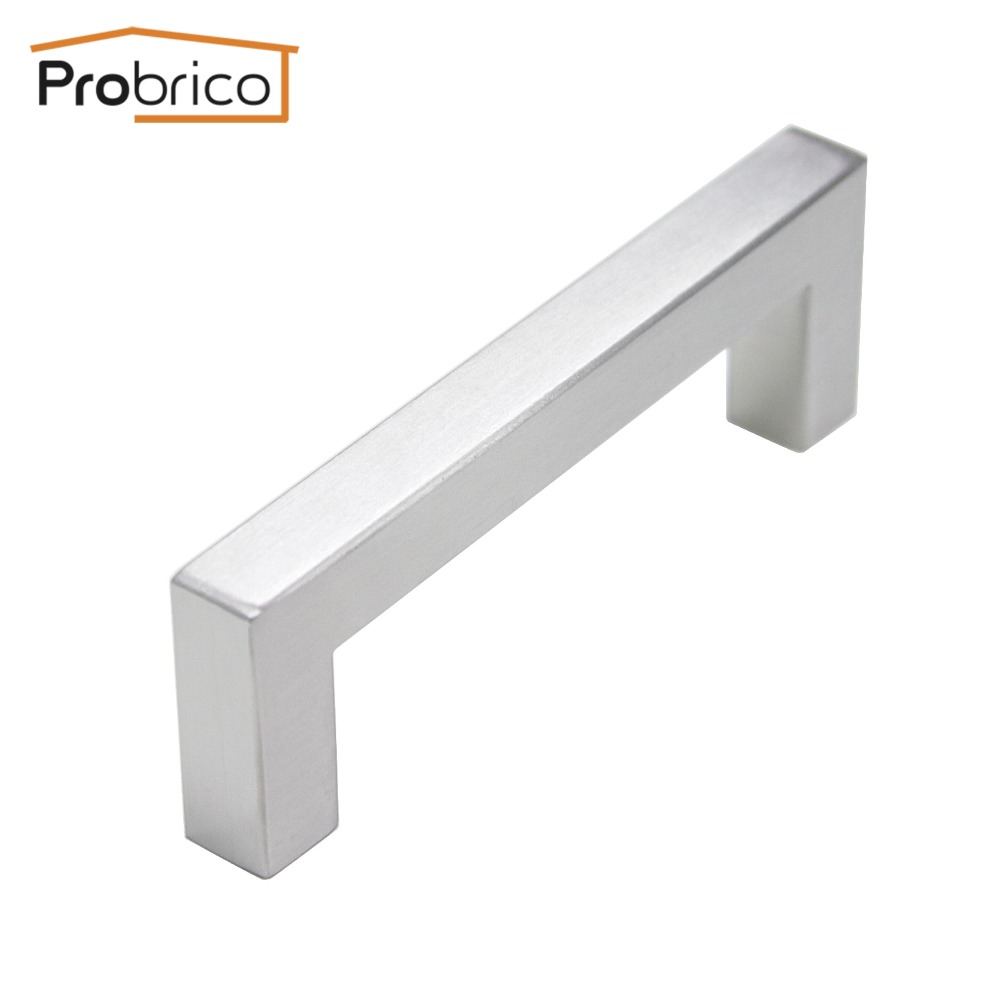 Probrico 12mm*12mm Square Bar Handle Stainless Steel Hole Spacing 96mm Cabinet Door Knob Furniture Drawer Pull PDDJ27HSS96 probrico 10mm 20mm square bar handle stainless steel hole spacing 128mm cabinet door knob furniture drawer pull pddj30hss128