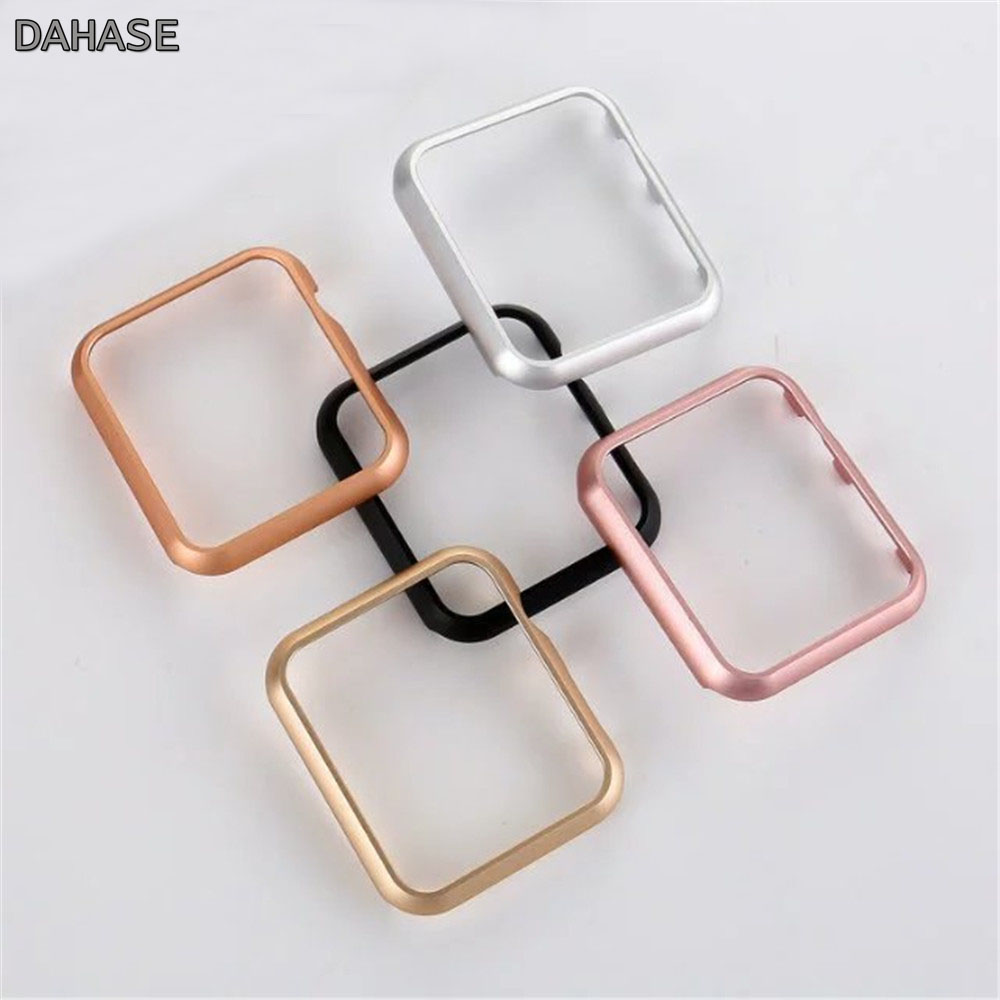 Hard Aluminum Alloy Metal Cover For Apple Watch Case 44mm 40mm 42mm 38mm iWatch Series 4 3 2 1 Plating Protective Shell Band zomgo stylish protective aluminum alloy bumper case for iphone 5 5s deep pink