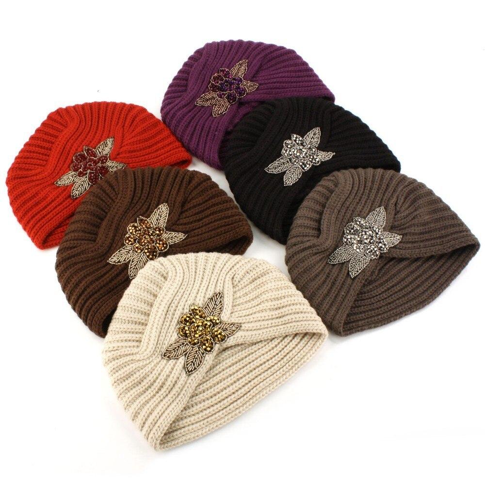 Women's Knitted Beanie Headband Crochet Headwrap Metal Jewel Winter Warm knit Turban