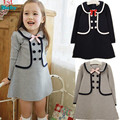 Retail 2014 New summer children girls dress,cotton long design t-shirt double-breasted buttons sub school navy 3-7Y