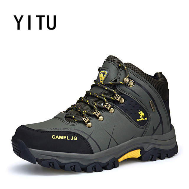 YITU Men Outdoor Hiking Shoes Outventure Tactical Shoes Autumn Big Size Winter Sneakers High Top Breathable Mountain Sneakers