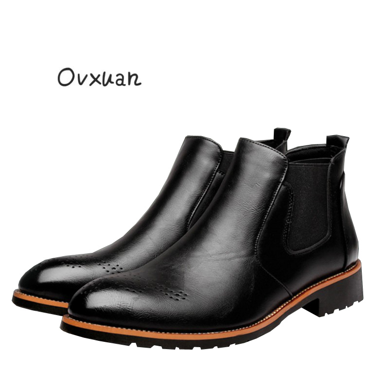 Ovxuan Mens Chelsea Boots Genuine Leather Handmade Men Boots Luxury Brand Party Wedding Dress Casual Boots Oxford Shoes