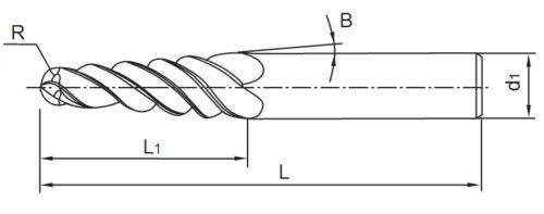 2db-R1,5 * D6 * 30,5 * 75L * 2F HRC55 Volfrám szilárd - Szerszámgépek és tartozékok - Fénykép 2
