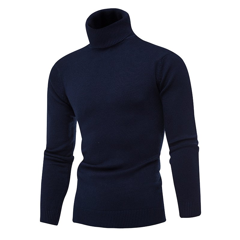 Sweater Men Autumn Winter New Style Fashion Leisure Turtleneck Solid Color Foundation  Sweater