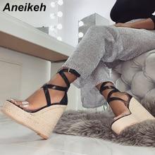 Aneikeh Summer Women Cross-tied Platform Wedges Sandals Gladiator Fashion High Heels Shoes Buckle Strap Espadrilles Sandals недорого