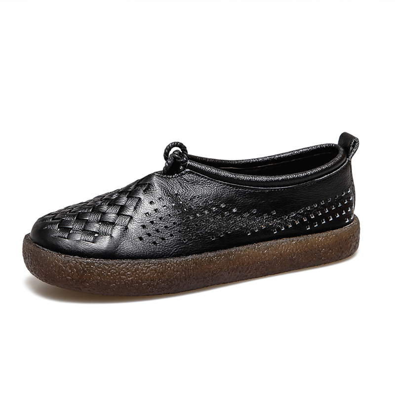 Image 5 - GKTINOO Women Flat Shoes Lace Up Moccasins Soft Genuine Leather Ladies Shoes Handmade Flats Hollow Casual Women Shoes-in Women's Flats from Shoes