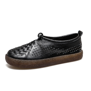 Image 5 - GKTINOO Women Flat Shoes Lace Up Moccasins Soft Genuine Leather Ladies Shoes Handmade Flats Hollow Casual Women Shoes