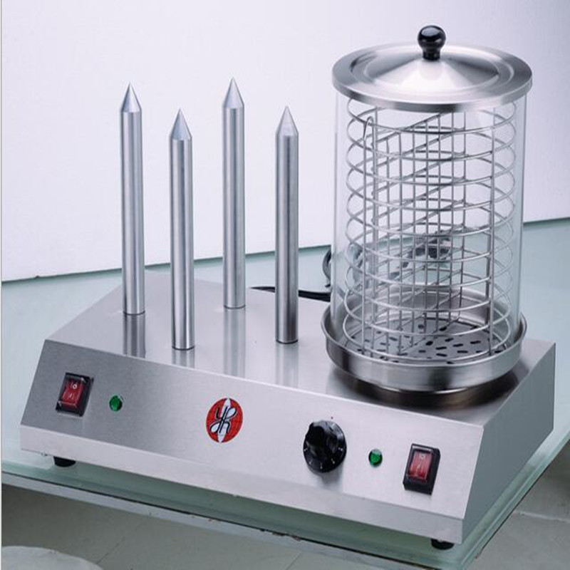 220v commercial electric steaming hot dog warmer baking sausage machine stainless steel tube double temperature control - Hot Dog Warmer