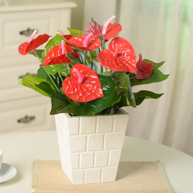 small office plant. Fashion Small Artificial Potted Green Anthurium Plastic Flower Tree Balcony Office Home Decoration Cheap Bonsai Plant