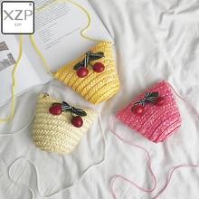 XZP Mini Wrap Bag Women Summer Straw Rattan Woven Crossbody Beach Handbag Cherry Shoulder Bags casual Messenger