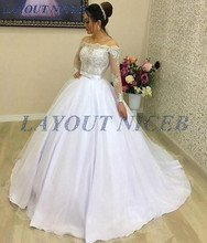 Off the Shoulder Long Sleeves Wedding Dress Lace Top Back Covered with Buttons vestido de noiva Boat Neck Formal Bridal Gowns