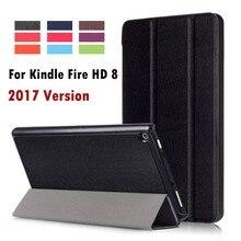 Para el Amazonas 2017 Nuevo Kindle Fire HD 8 de Negocios Pintado Imprimir PU de cuero Elegante Del Tirón Del Sueño de La Cubierta Para kindle fuego hd8 2017 nuevo