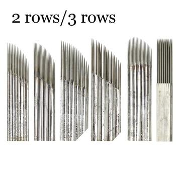 50/100 piezas de doble fila agujas Manual pluma hojas 15 pines Microblading ceja permanente maquillaje tatuaje 3D bordado