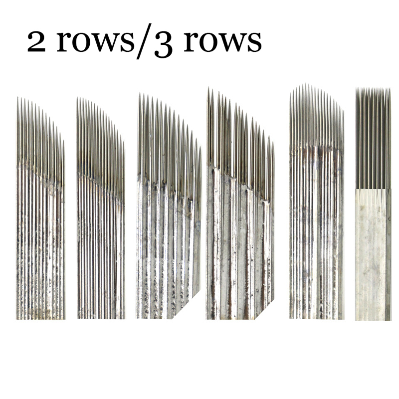 50/100pcs Double Row Needles Manual Pen Blades 15 Pins Microblading Permanent Makeup Eyebrow Tattoo 3D Embroidery