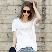 2016 New Summer Women S Europe And America Loose Solid Color Linen Cotton T Shirt Female