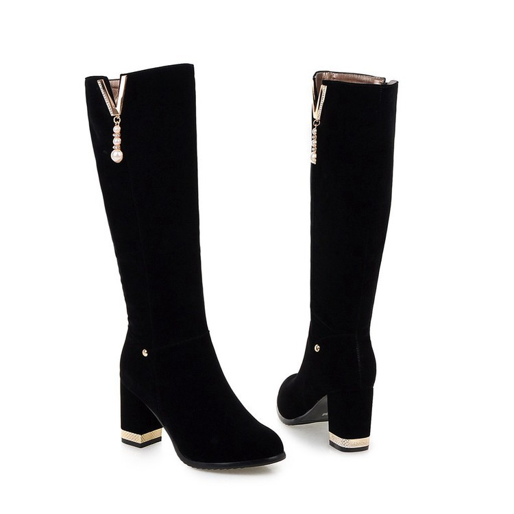 New Beaded Womens Large Size 40 High-heeled Suede Black Knee High Boots Autumn And Winter 7cm13