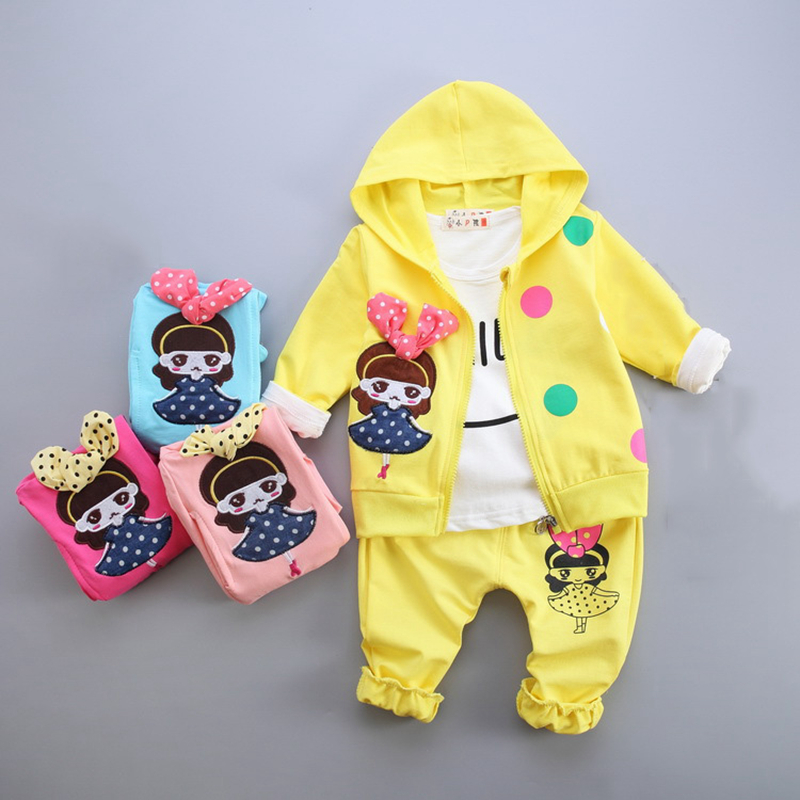 infant baby girl clothes sets 3pcs cotton cartoon hooded cardigan jacket+long sleeve shirt+pants newborn girls suits newborn baby boy girl 5 pcs clothing set cotton cartoon monk tops pants bib hats infant clothes 0 3 months hight quality