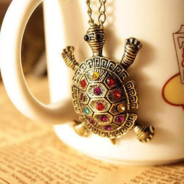 FAMSHIN ($0.68 1pcs) Vintage inlay colorful cute little turtle necklace chain sw