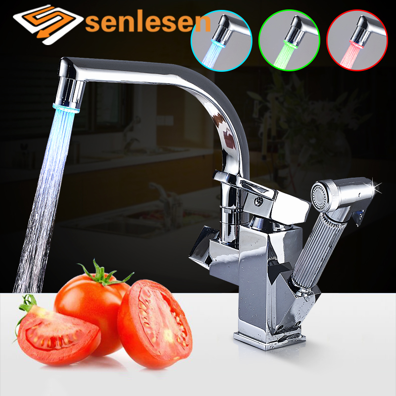 Senlesen Kitchen Pull Out Faucet Gold Brass Deck Mount Single Handle Water Mixer Tap Para Kitchen Sink 360 Swivel Kitchen Taps цена и фото