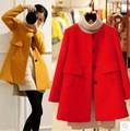 3xl plus tamaño grande, primavera mujer otoño invierno 2017 feminina nueva engrosamiento paño rojo abrigos mujer A2464