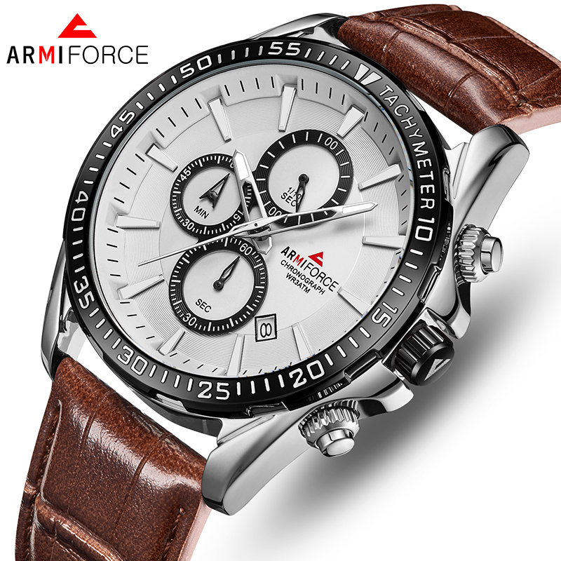 ARMIFORCE Men Watch Top Luxury Brand Men's Chronograph Quartz Watches Male Waterproof Leather Sports Clock Relogio Masculino