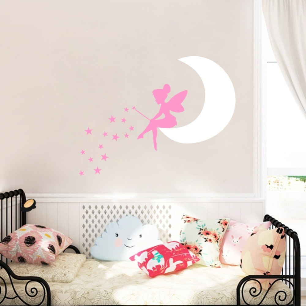 Fairy Moon DIY Stars Cartoon Vinyl Art Wall Sticker for Girls Baby Bedroom Decor in Wall Stickers from Home Garden