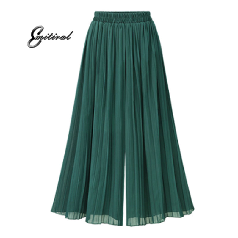 2017 Summer European Style Plus Size 5XL Pleated Women   Wide     Leg     Pants   Loose Chiffon Anklet Length   Pant   Elastic Waist Trousers