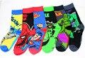 2016 venta Caliente estilo superhéroe larga superior calcetines activos Batmen Hulk Spiderman 3D de dibujos animados Calcetines de buena calidad de los hombres activos calcetines