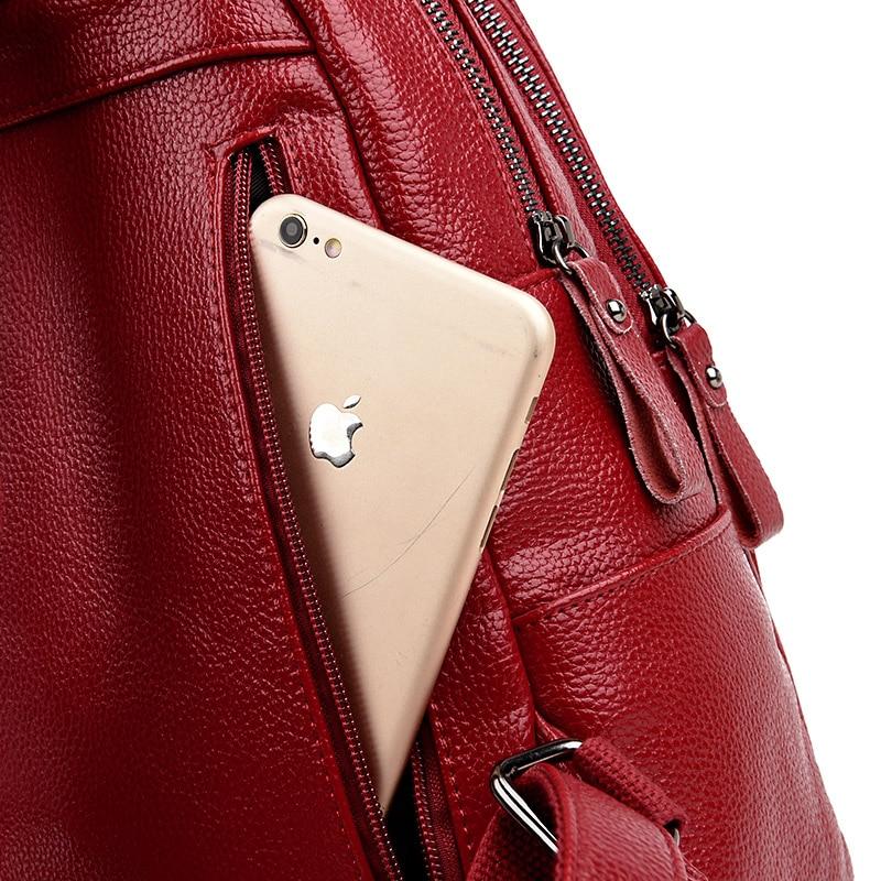 mulheres macio genuíno mochila de Material Principal : Couro Genuíno