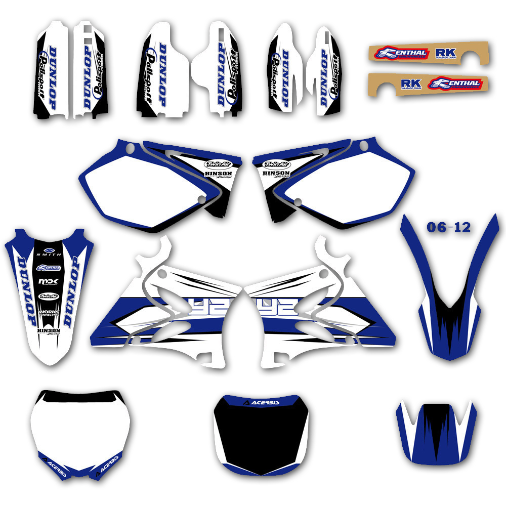 Background Graphic Decals Kit For Yamaha YZ 125 250 YZ125 YZ250 2002 2003 2004 2005 2006