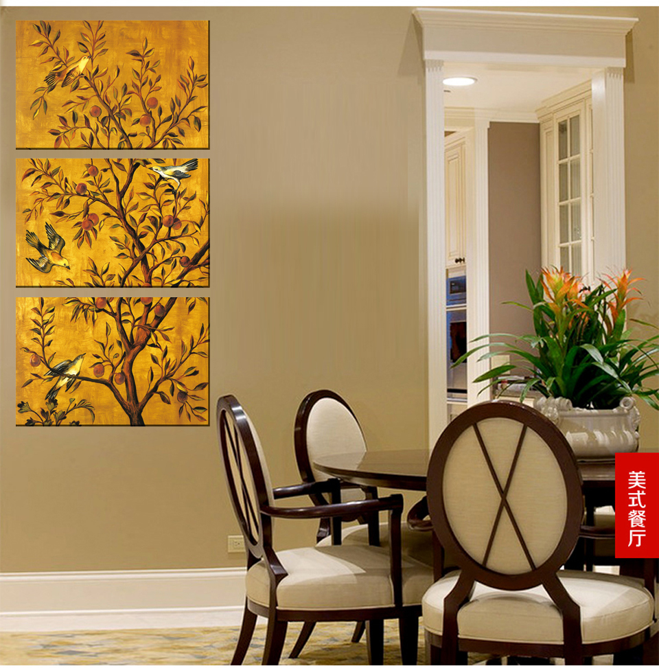 3 Pieces Free Shipping popular Hot Sell Modern Wall Painting flower bird Home Wall Art Picture Paint on Canvas Prints no framed in Painting Calligraphy from Home Garden