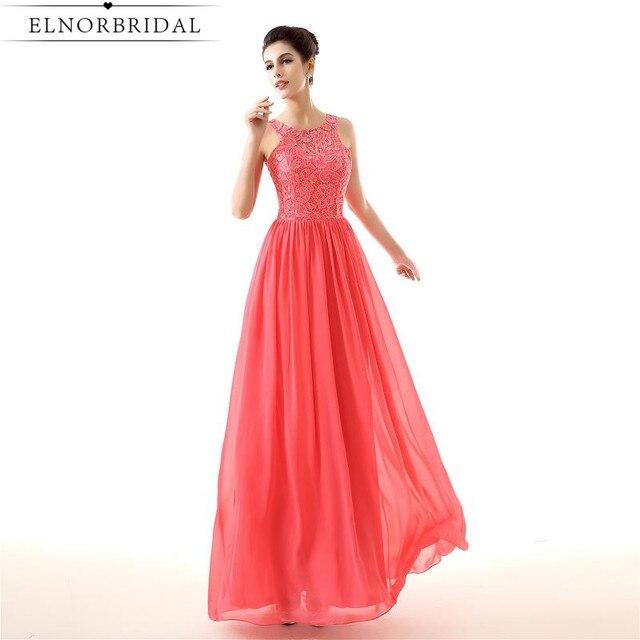 Robe De Soiree Longue Coral Prom Dresses Long 2017 Sheer Lace ...